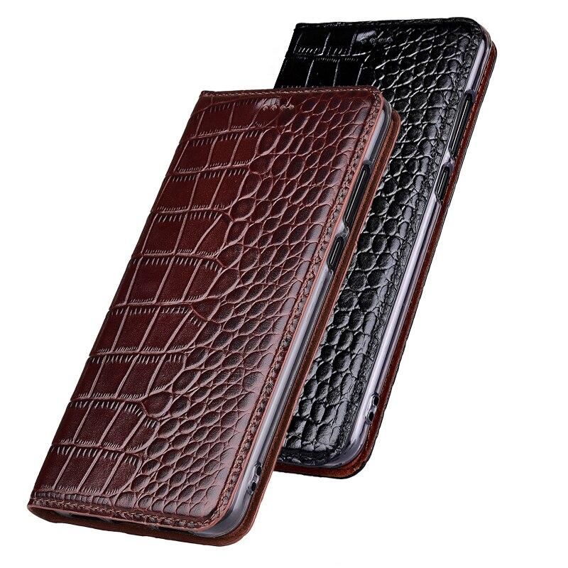 Funda de piel de vaca genuina Natural para Huawei Honor X1 y Media Pad X1 funda de teléfono con soporte abatible de grano de cocodrilo