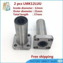 Roulement linéaire à billes   Imprimante 3D, LMK12LUU, plus, Type à bride ronde, pièces de roulement à billes, pour RepRap Ultimaker 2 pièces/lot