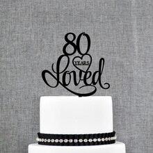 Décoration de gâteau personnalisée pour anniversaire   Décoration de gâteau pour anniversaire de 80 ans, utilisée pour anniversaire, fournitures de décoration pour décoration de gâteau du 80e anniversaire