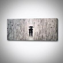 Mintura peint à la main toile abstraite peinture à lhuile amoureux modernes avec parapluie œuvre photo murale pour salon décoration murale Art