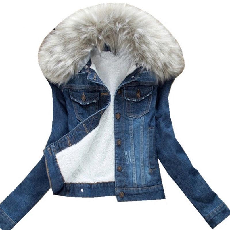 2020 Winter Fur Collar Denim Jackets Plus Velvet Warm parka Outerwear Women Cashmere Cotton Coat Girl Fashion Jacket Female