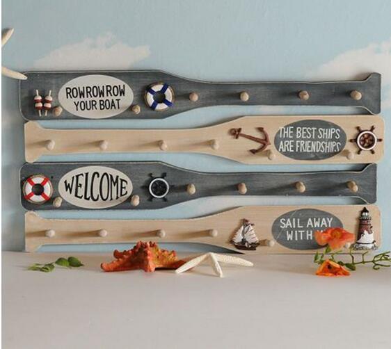 Mediterranean Style Wooden Crafts Ornaments Home Furnishing Oar Hook NL170
