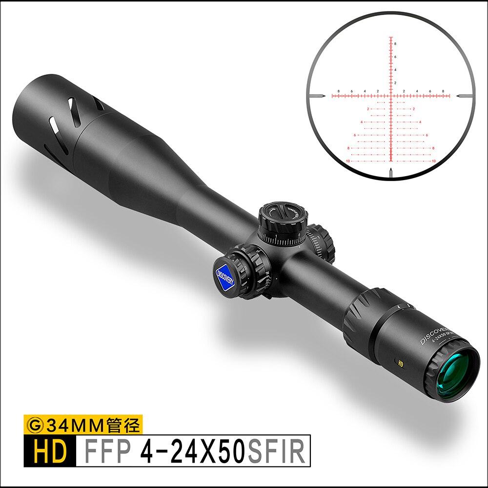 Discover HD 4-24X50 SFIR FFP IR-MIL táctico de largo alcance de tiro de caza rifloscopio de tubo de 34mm Rifle Alcance de iluminación airguns
