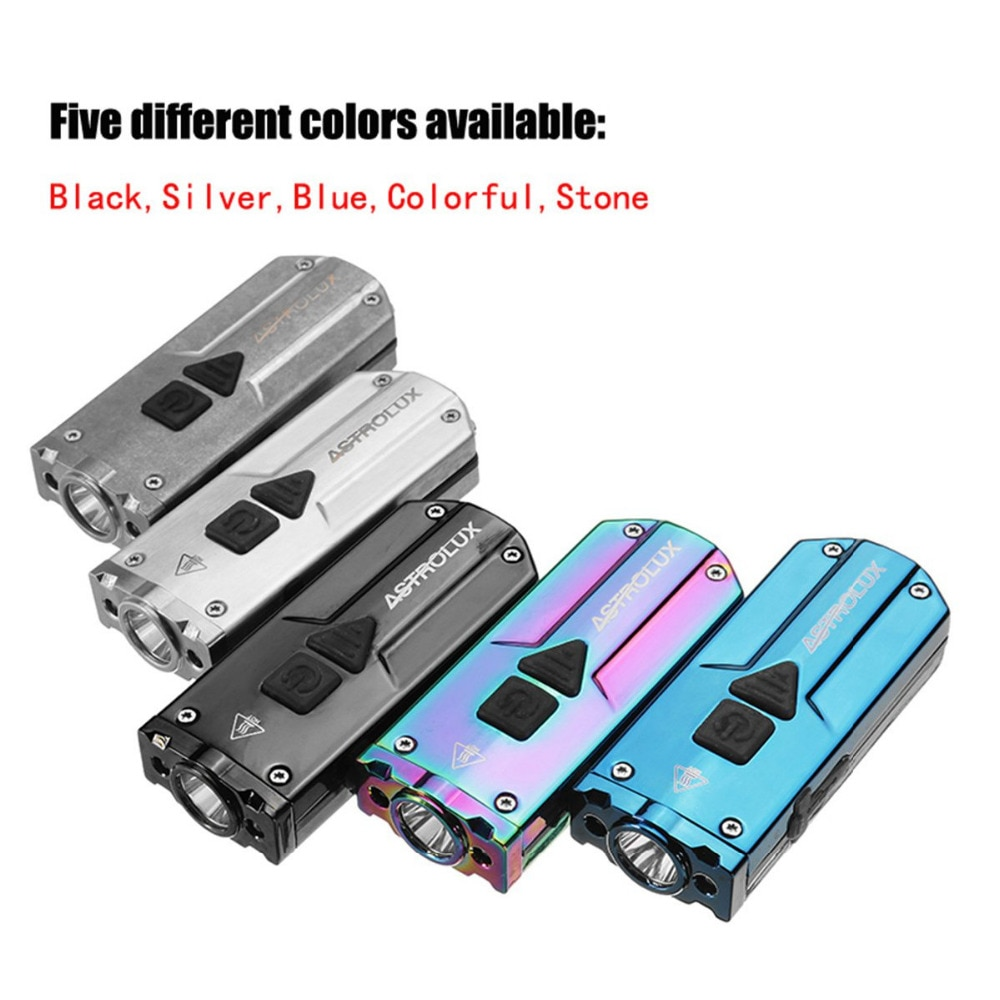 Astrolux 350LM linterna led USB de acero inoxidable Mini llavero linterna 3 luces LED linterna UV recargable IP65 impermeable