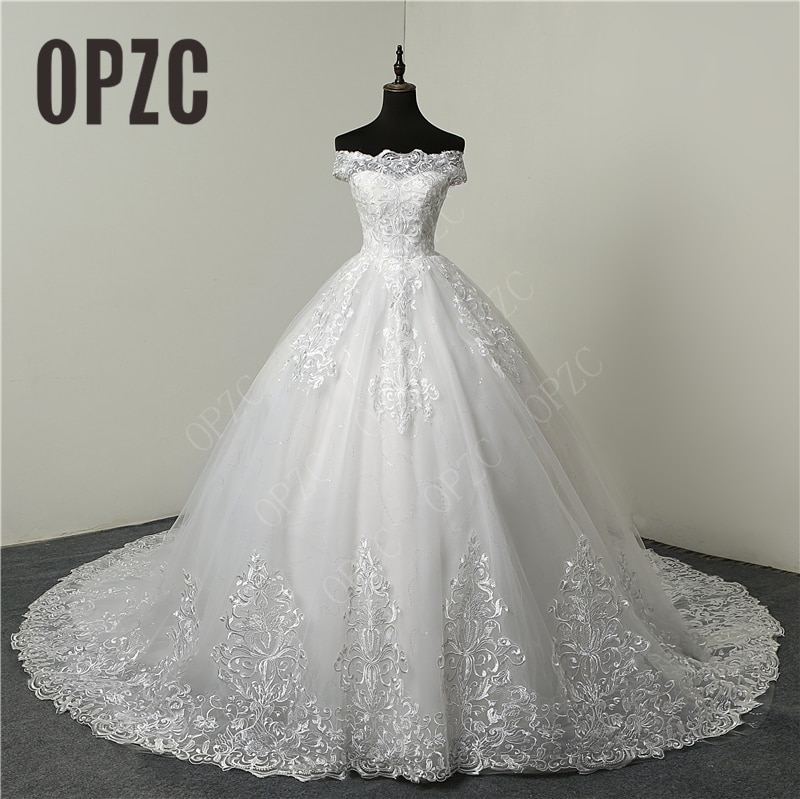 Real Vedio Luxury Lace Applique Plus Size Wedding Dress Embroidery 2021 New Long Train Sweetheart Br