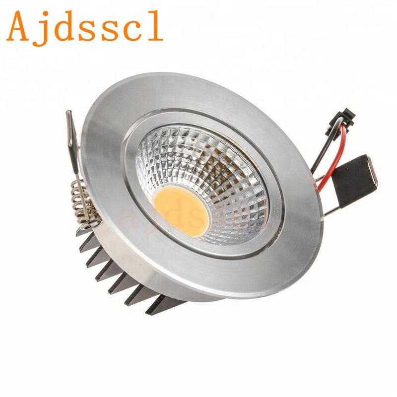 Dimmable LED Downlight COB proyector lámpara de techo AC85-265V 6W 9W 12W 15W 18W WAluminum downlights empotradas panel de luz LED redondo