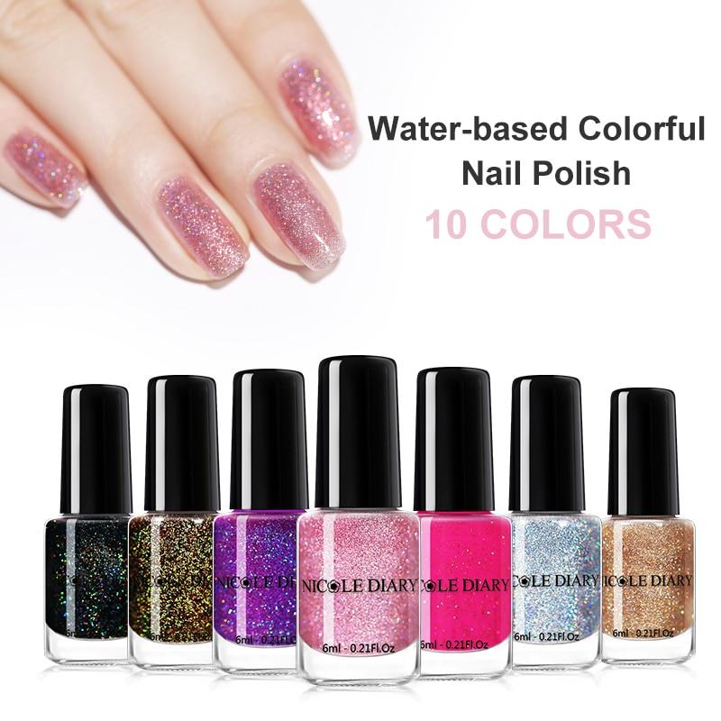 NICOLE diario 6ml botella de esmalte de uñas de cáscara de Arte de uñas brillo de barniz de rosa de plata a base de agua de Arte de uñas