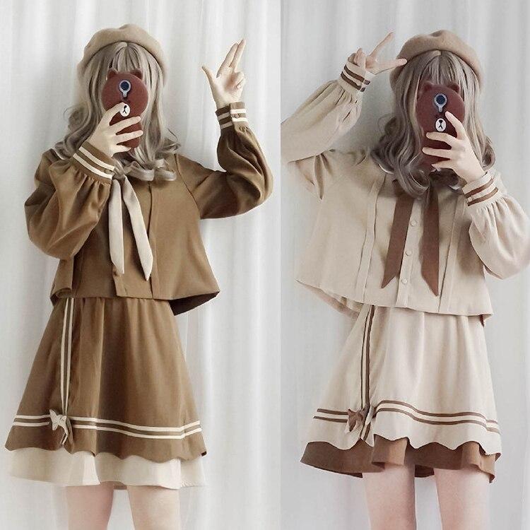 Estudiantes JK uniforme Top Lolita camisa falda escuela chicas kawaii lindo Bowtie Cosplay traje Blusa de manga larga
