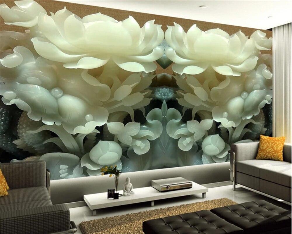 beibehang 3D Fresco Wallpaper Chinese Jade Flower 3D Stereo TV Background Wallpaper Living Room Bedroom papel de parede behang