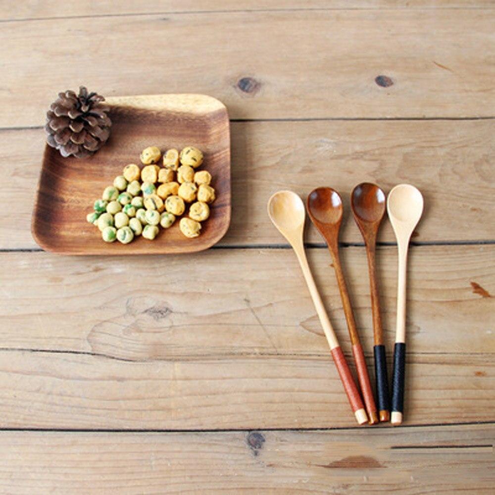 Juego de utensilios de cocina de madera bambú, 4 Uds., utensilios de cocina, cuchara fuerte de madera para cocinar