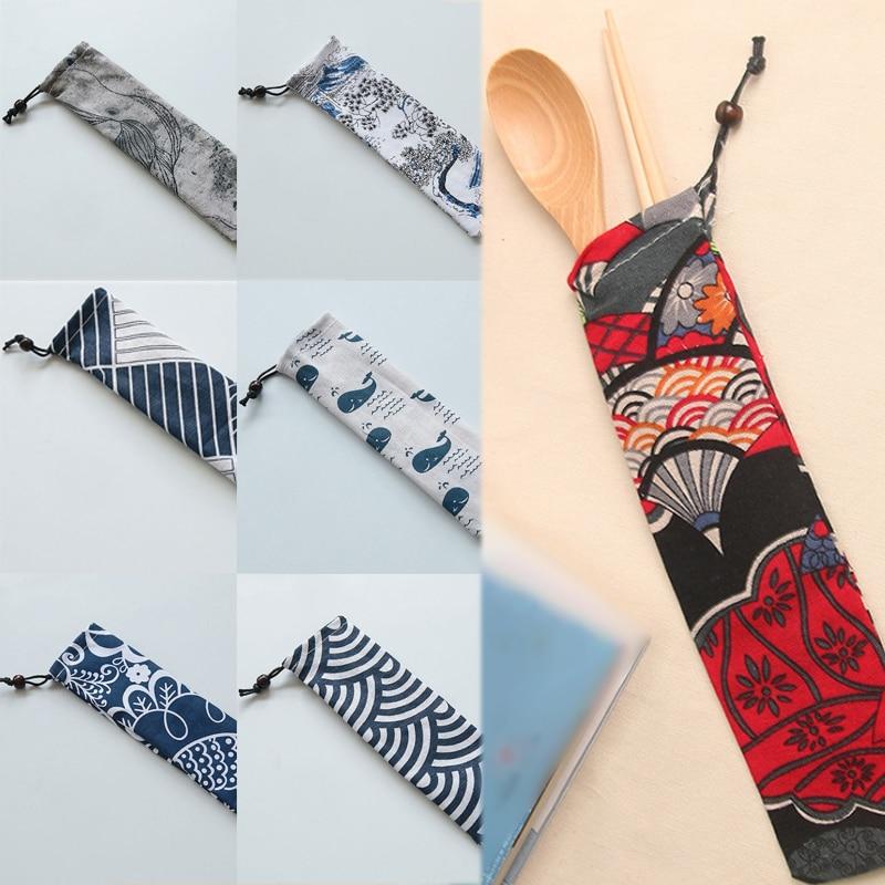 Gran oferta, 1 unidad, nuevo, 15 estilos, bolsa de cuchillos de viaje, tenedor, organizador de almacenamiento de lona, Japón, Harajuku, bolsa con cordón