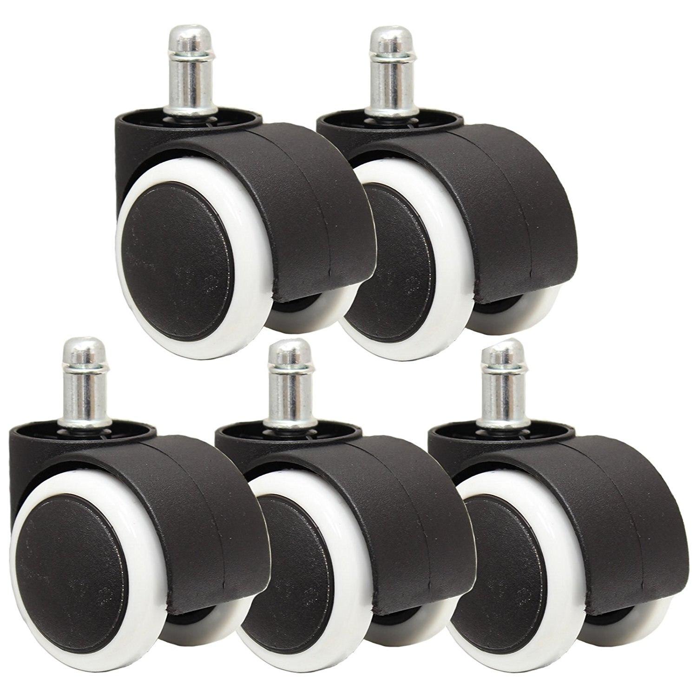 5 uds silla de oficina Universal ruedas giratorias 360 grados ruedas giratorias diámetro de rueda blanca y negra 50mm BG-2