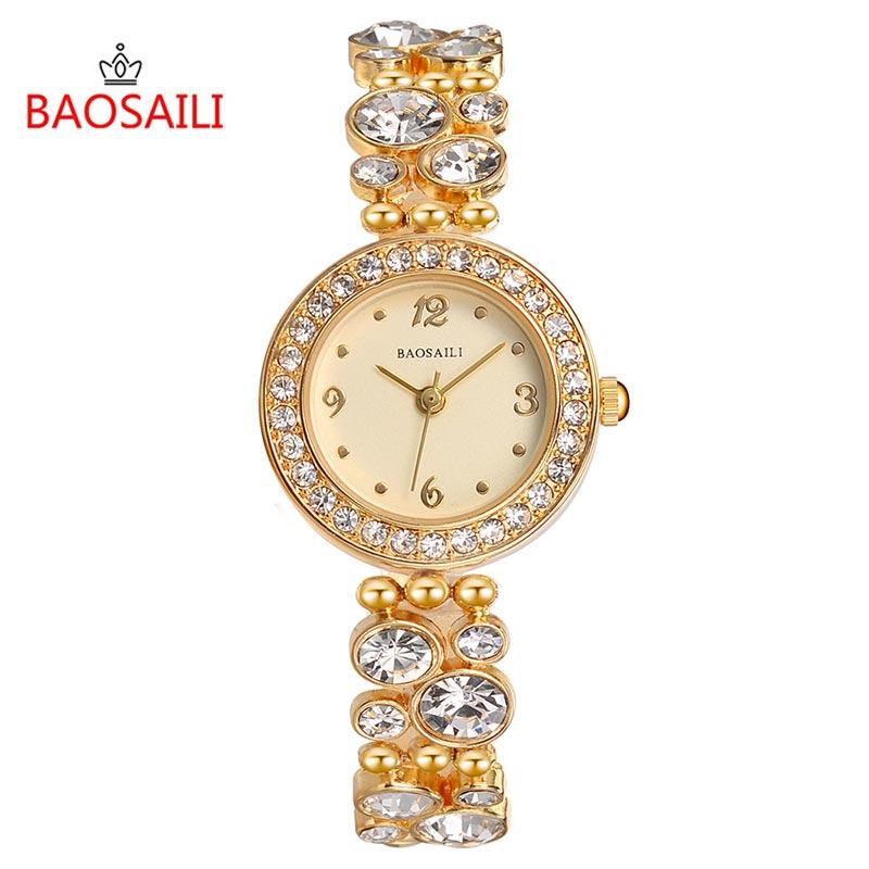 Nowy projekt bransoletka BAOSAILI prosty zegarek lśniący diamentowy damski zegarek damski analogowy zegar kwarcowy Ceasuri Montre Femme