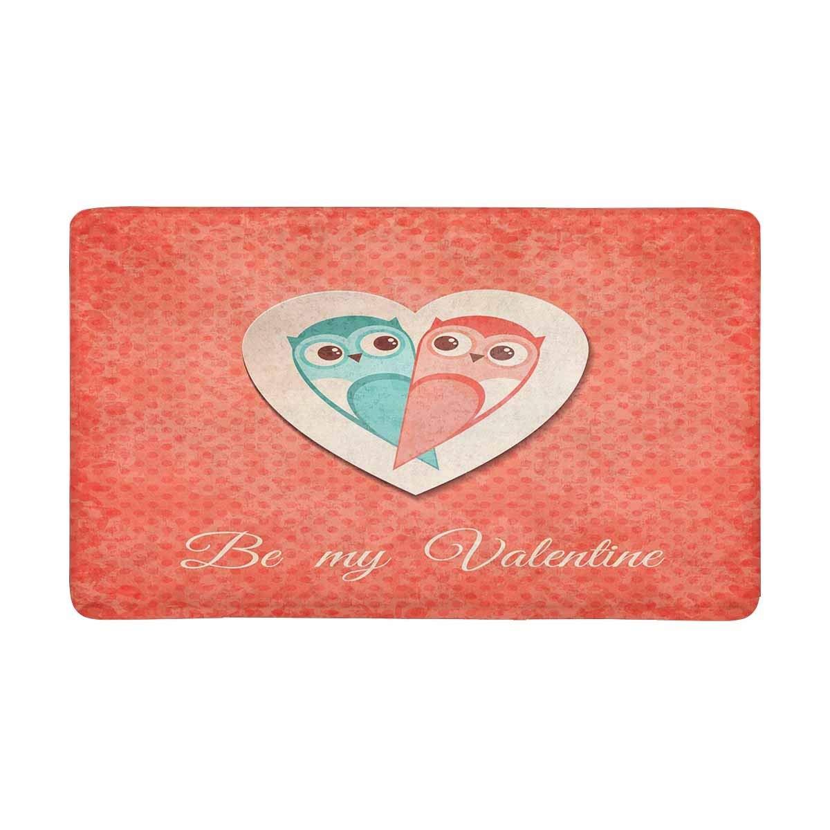 Valentine Card With Owls Indoor Entrance Doormat Non Slip Door Mat Entrance Rugs Home Decor