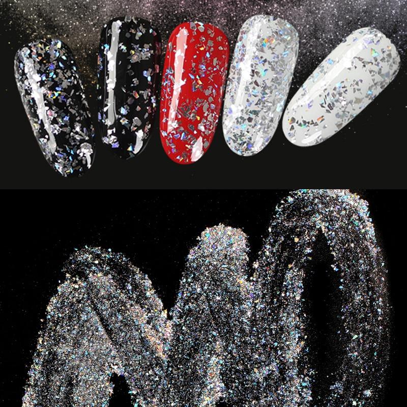 Brillo hermoso láser Irregular fragmento polvo acrílico Gel para decoración de uñas decoración holográfica de escombros DIY