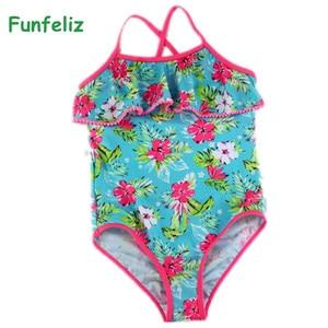 Funfeliz Girls Swimsuit Print Ruffle Baby Girl bathing suit Children swim wear one piece Swimwear Kids Swimming suit 3Y-14Y