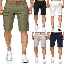 Homens quentes Magro Aptidão Cor Sólida Bermudas Casuais Trabalho Uniforme Meia Calça Jeans Verão Calções De Praia de Algodão Largas Calças Curtas calças