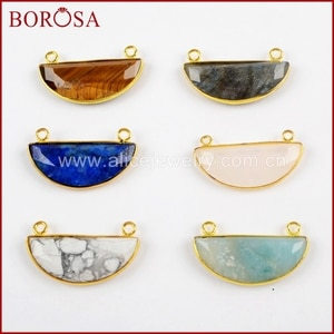 BOROSA 5/10PCS Gold Color Half Moon Faceted Multi-kind Stones Connector Druzy Amazon White Howlite Double Charms Jewelry WX960