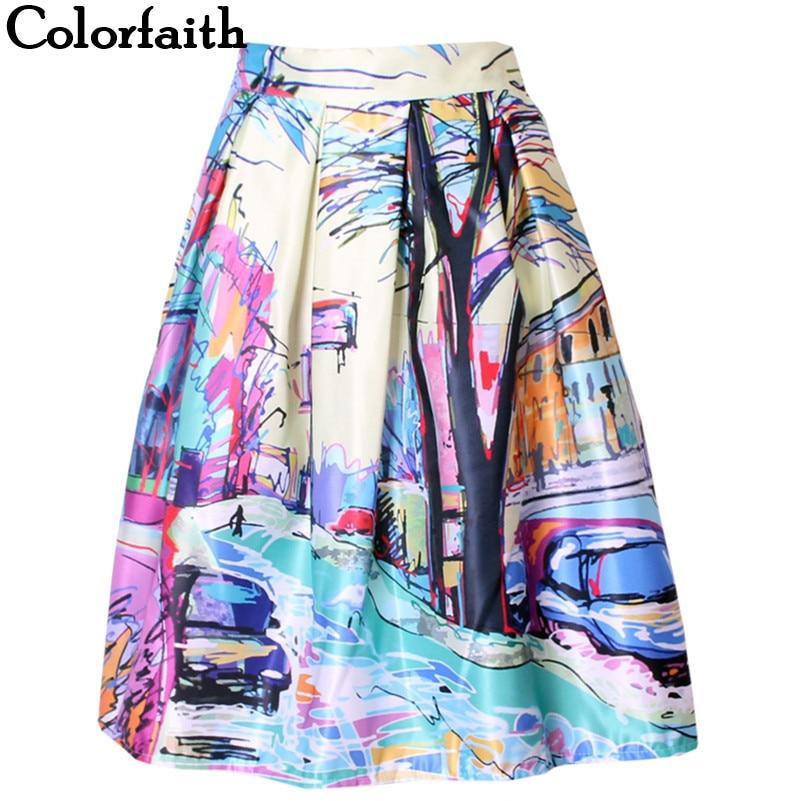 2016 Fashion Satin Women Skirt Summer Vintage Retro Fantasy Scenery Painting Print High Waist Midi Skirt  Ball Gown Saia SK056