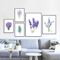 Toile de peinture avec feuilles de lavande violette et fleurs  affiche imprimee  tableau mural moderne et minimaliste  decoration de chambre a coucher  printemps