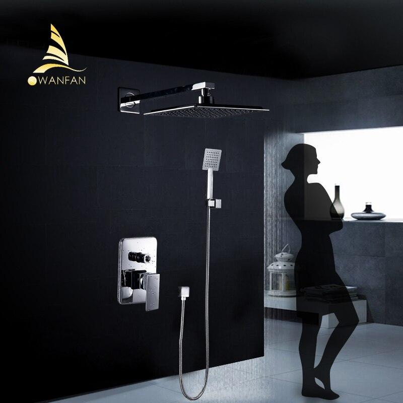 Grifos de ducha de montaje en pared plateado cromado juego de grifería de baño ducha grande cuadrada válvula de mano grifo de mezclador de baño YB-608