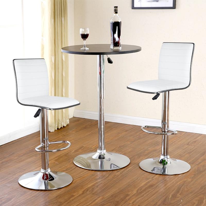 JEOBEST 2 unids/set Silla de Bar blanca/negra taburete de Bar giratorio de cuero PU altura ajustable cocina contador Pub Silla de rayas HWC