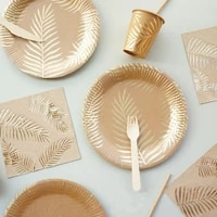 gold foil star disposable tableware napkin tropical palm tree leaves paper plates cups baby shower for kids girls boys