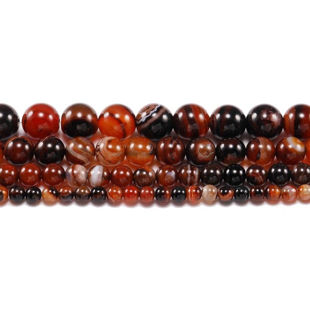 Atacado a granel 4 6 8 10 12 mm clarete natural pedra listra agata onyx contas soltas redondas para fazer jóias diy pulseira colar