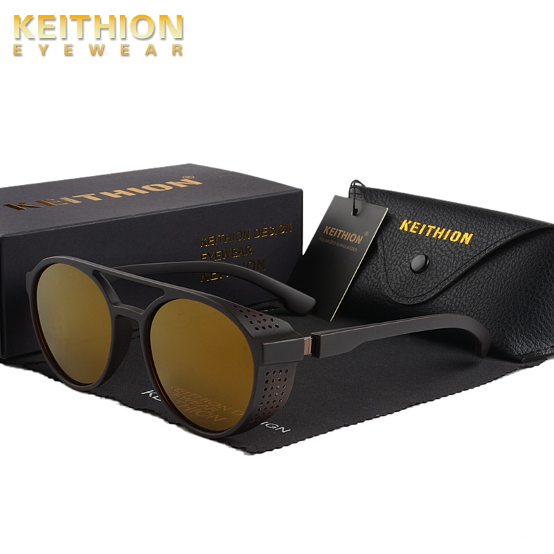 KEITHION Retro Round Polarized Sunglasses Steampunk Men Women Brand Designer Glasses Oculos De Sol Shades UV Protection