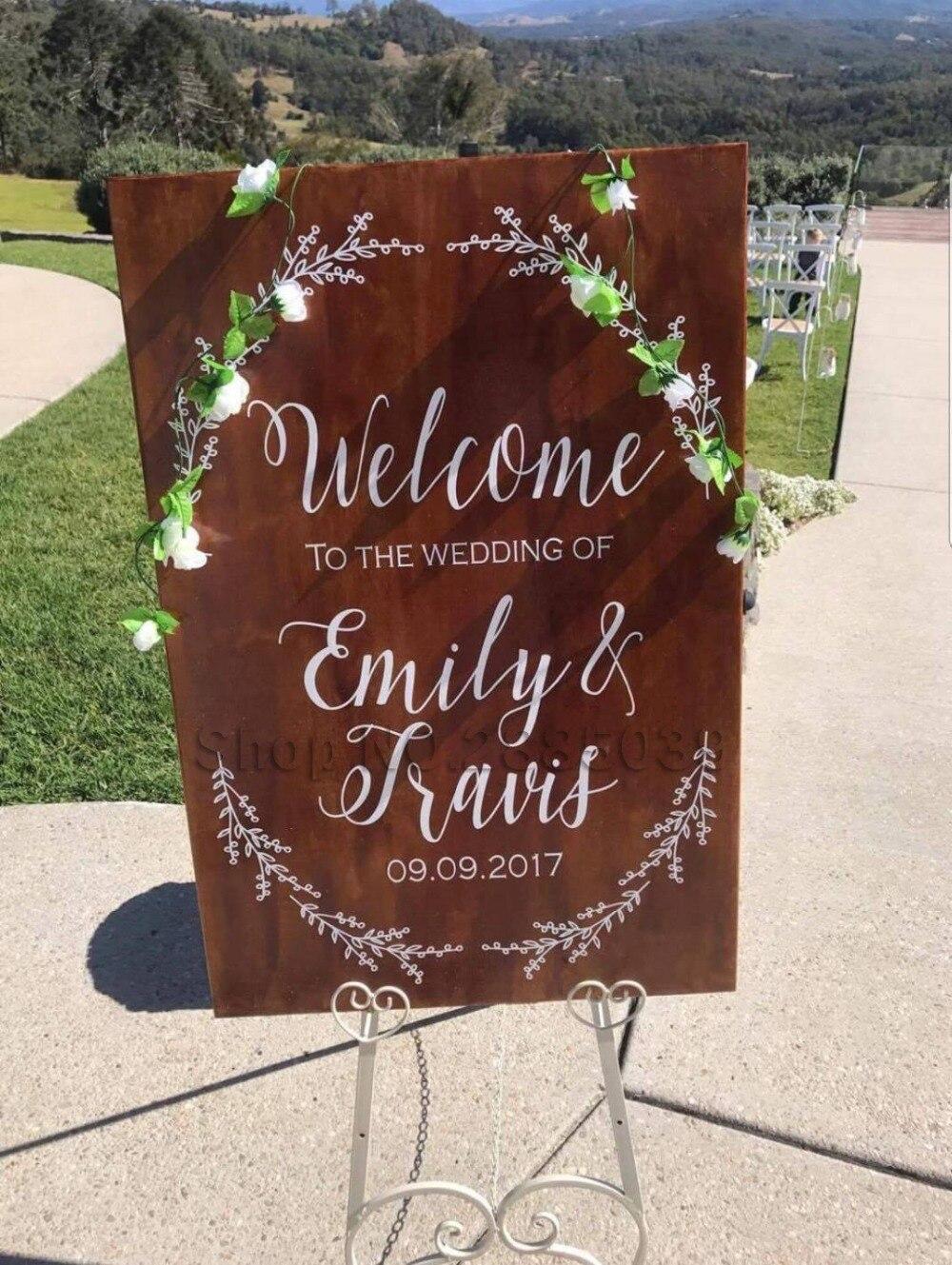 Signo de bienvenida pegatinas vinilo extraíble para espejos/madera/cualquier superficie boda decoración creativa calcomanías arte adhesivo personalizado LC678