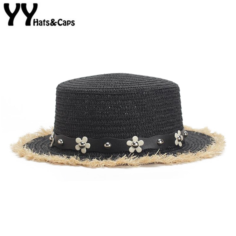 Sombreros de paja de cinturón de flores para mujeres verano playa gorra plana superior Jazz sombreros de ala ancha para fiesta de té sombreros de paja visor YY18065