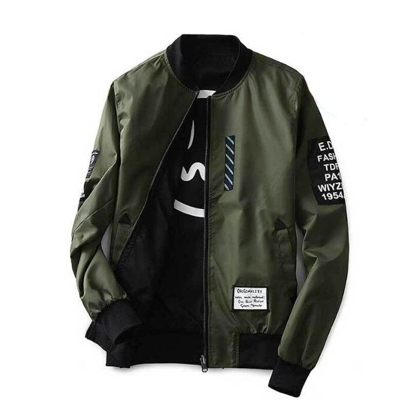 Casaco de homem com remendos verde ambos os lados usar fino piloto bombardeiro jaqueta masculino jaqueta de disjuntor de vento