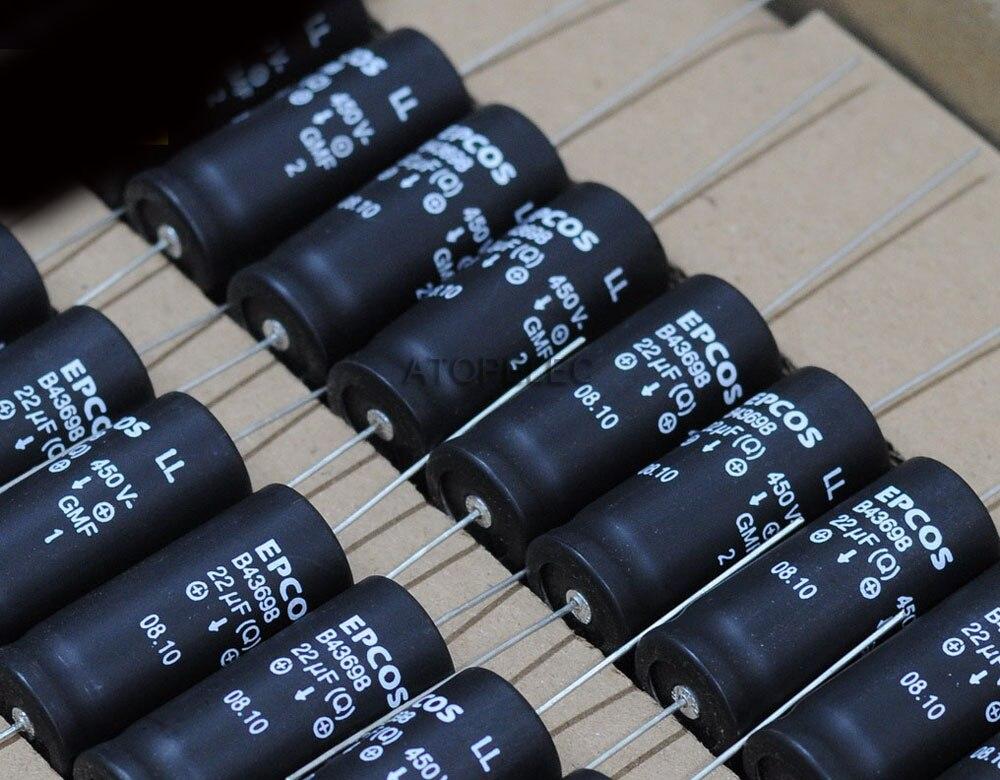 1 ud. Condensadores electrolíticos axiales EPCOS 22 uF/450 V LL Audio Hi-Fi 105 grados C