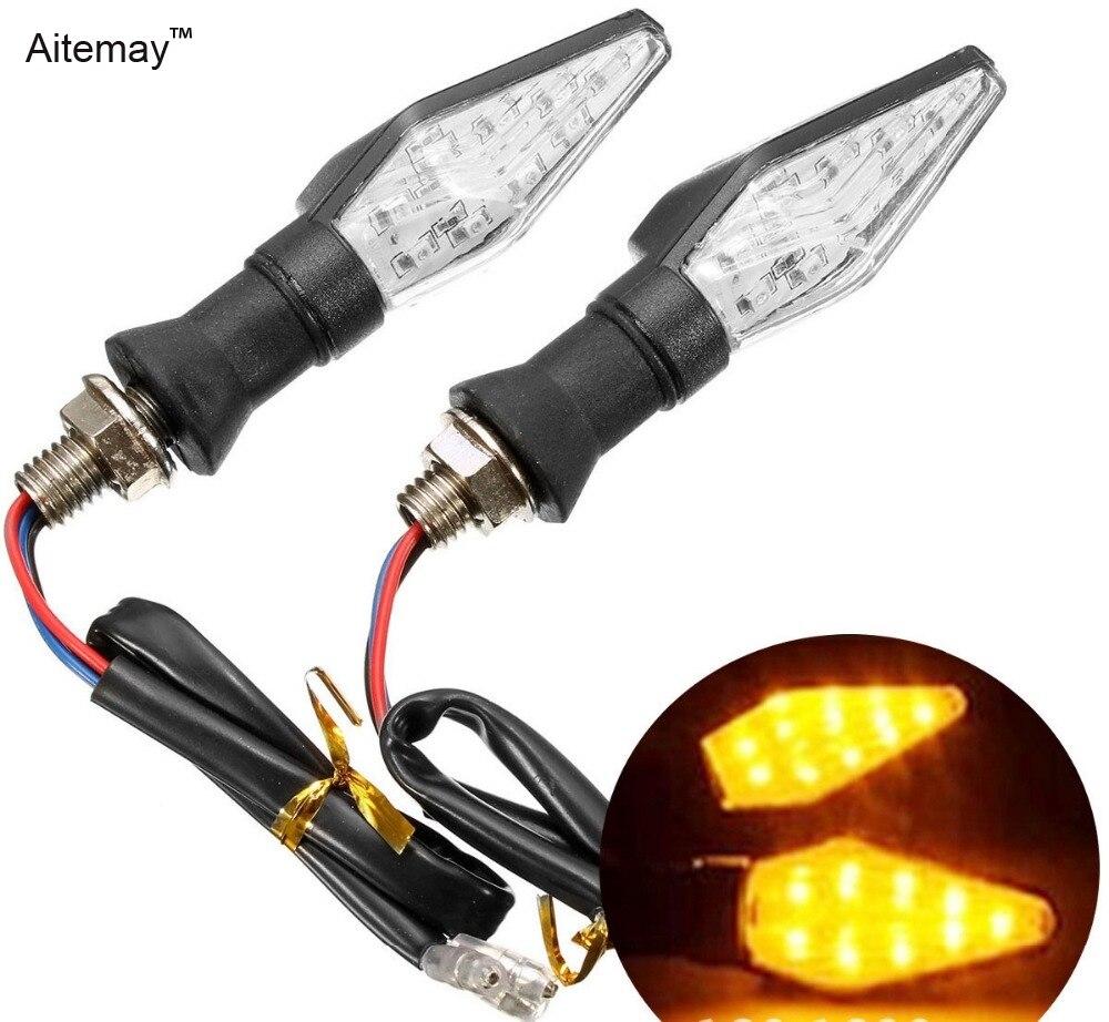 Aitemay 2 uds luz LED de intermitente Universal para motocicleta impermeable 12 Led SMD indicador intermitente Flash luz de señal de la lámpara