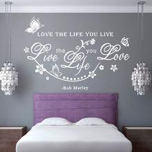 Autocollant Mural blanc Bob Marley citation   Autocollant de décoration avec des mots, amour la vie, vigne vivante, papillon, décalcomanie dart Mural pour la maison