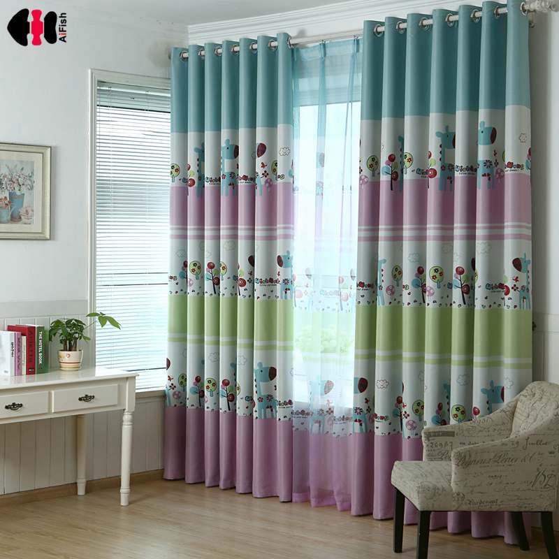 Polyester Semi-blackout Curtains Living Room Window Treatments Girls Boy Sheer Panel Cartoon Deer Fabrics Blinds WP194D