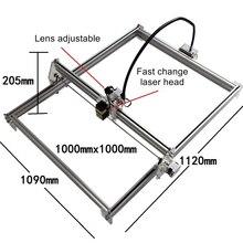 Máquina de grabado láser DIY, enrutador de marcado de metal de 10W, tamaño de trabajo 100x100cm