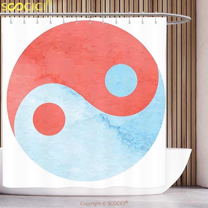 Cortina de Chuveiro divertido Ying Yang Decor Pintura Em Aquarela Estilo Asiático Tema Das Artes E Cultura Zen o Equilíbrio e Harmonia Abstrato Vermelho Azul