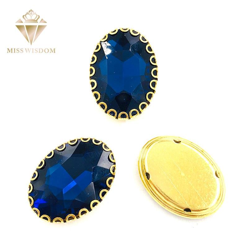 Новые чернильные синие Овальные Стеклянные кристаллические пришивные стразы с золотым низом, кружевные формы когти 6X8/8X10/10X14/13х18 мм, аксессу...