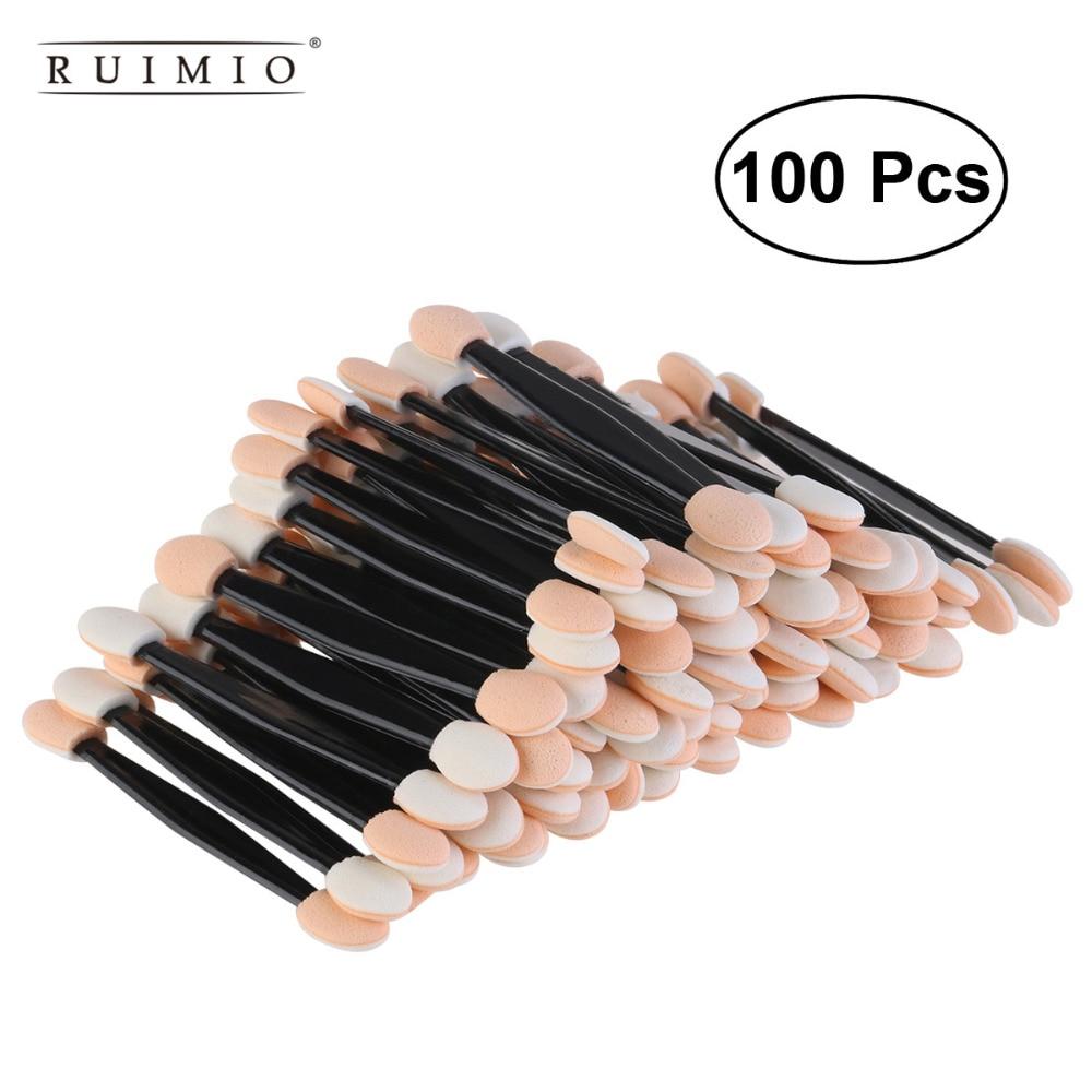 RUIMIO 100pcs Disposable Eyeliner Brush Dual Sided Eyeshadow Eyebrow  Sponge Tipped Oval Makeup Brush Applicator Tool Beauty