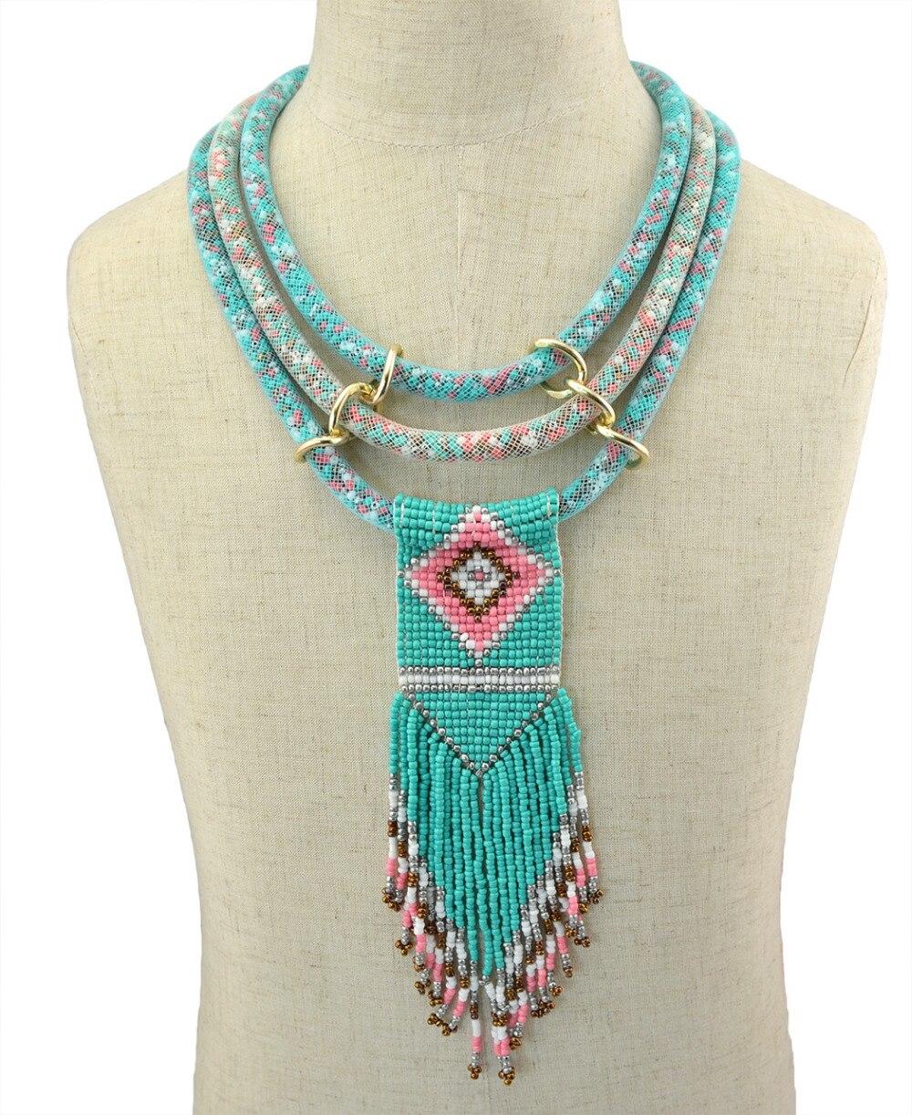 Boho Indische Multi Layered Bib Kragen Halskette Handgemachte Harz Perlen Lange Quaste Blume Aussage Halsketten Frauen Afrikanische Schmuck
