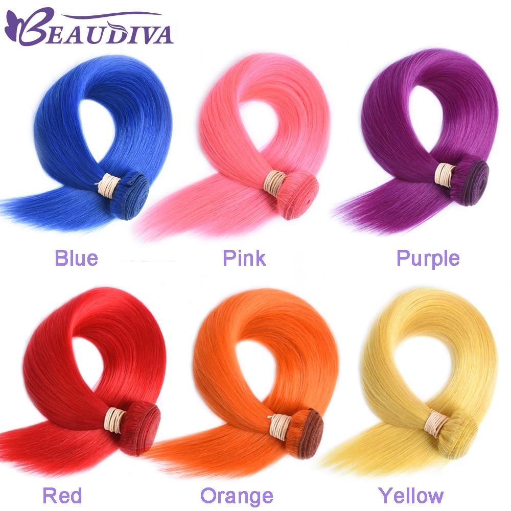 BEAUDIVA Pre-Farbige Menschliches Haar Weben Gerade Rosa Farbe 3 Pics Brasilianische Haar Bundles 10-24 zoll