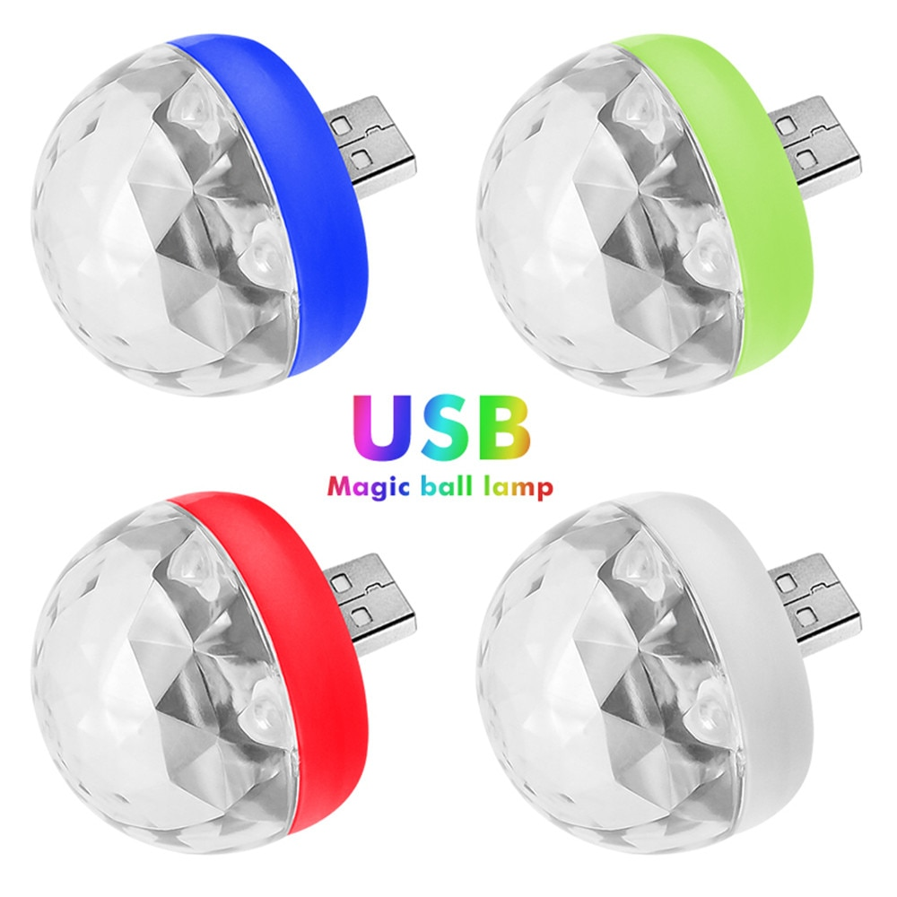 mini stage light 3w usb powered sound actived multicolor disco ball magic effect lamp for birthday party concert d Mini Colorful Disco Light USB LED Party Lights Portable Crystal Magic Ball Stage Effect Stage Lamp Home Party Decoration