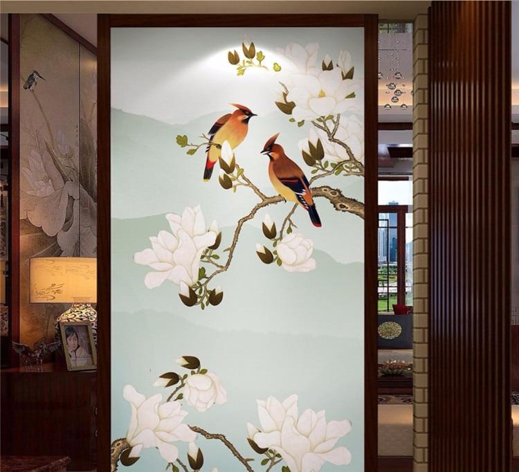 Papel tapiz personalizado 3d pintado a mano flores y pájaros de nuevo...