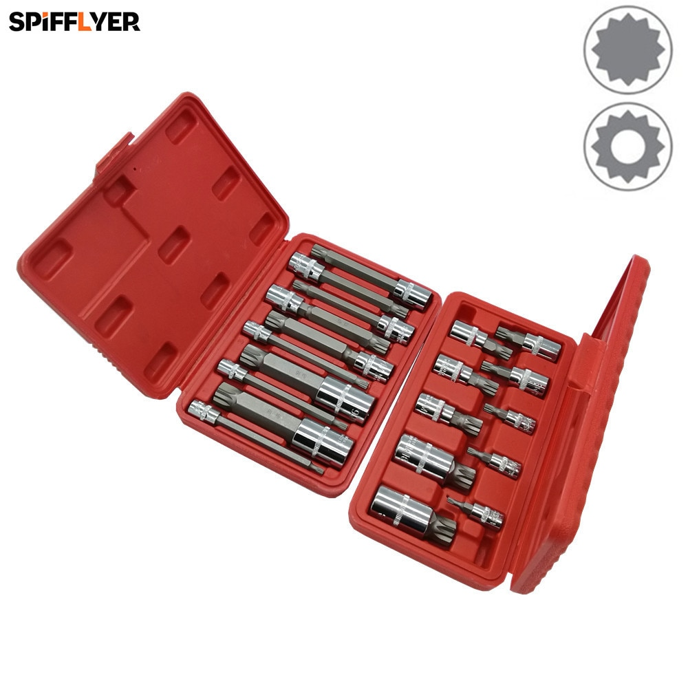 SPIFFLYER 10 STÜCK XZN Dreibettzimmer Platz Spline Bit Steckschlüssel-satz Extra Lange Ausführung 100mm Kurze Ausführung S2 Bit, Cr-V Buchse Metric 4mm-18mm