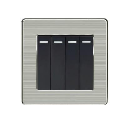 1 2 3 4 gang 2 way lámpara de pared británica de Hong Kong enchufe panel de acero inoxidable interruptor 86 tipo 13A