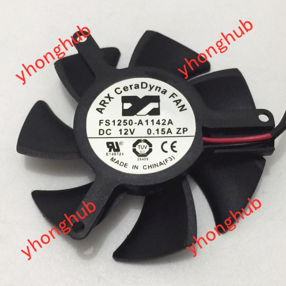 Arx FS1250-A1142A dc 12v 0.15a ventilador de refrigeração do servidor de 2 fios