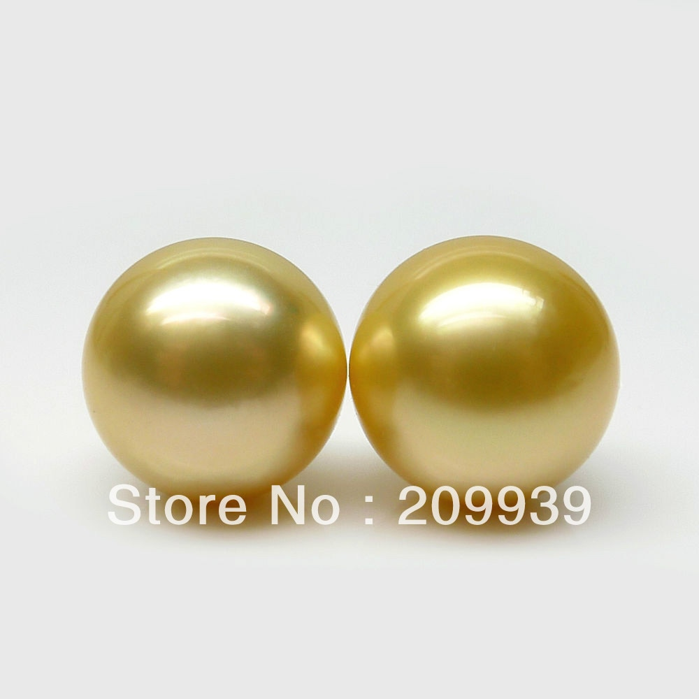 hj 0089 SHINING!AAA 2PS 11.5MM GOLD SOUTH SEA LOOSE GENUINE PEARL LUXURY EARRING