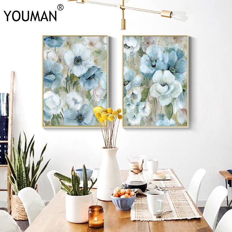 Плакат, картина на обоях, синий цветок, Картина на холсте, абстрактная картина, художественные плакаты и принты, настенное искусство, холст, ...