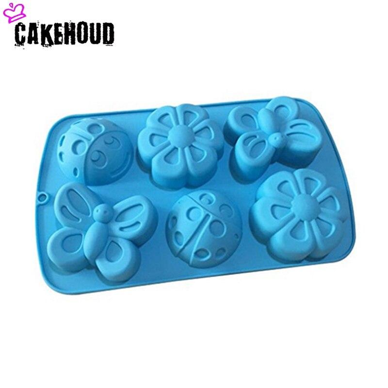 Cakehoud 3d6 mesmo inseto molde de bolo de silicone borboleta flor sete-estrela joaninha artesanal sabão molde ferramenta de cozimento ferramenta de bolo de cozinha